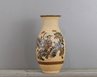 Vintage mexican pottery vase | hand painted stoneware mexican vase | #2566