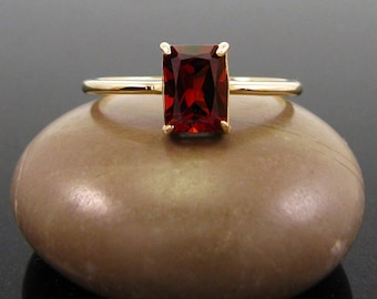 Garnet ring gold, 14k gold rings January Birthstone, genuine garnet size 3 4 5 6 7 8 9 gold rings jewelry