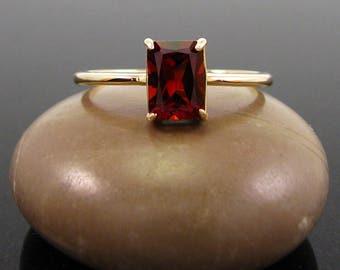 Garnet ring gold, 14k gold rings January Birthstone, genuine garnet size 3 4 5 6 7 8 9 gold rings jewelry
