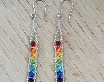 Rainbow Swarovski & sterling silver ear-rings