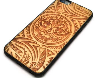 iPhone 6 Plus, Natural Wood with Laser Engrave Polynesian Tribal Design Cell Phone Case, Designed and Engraved in USA-i6pw011