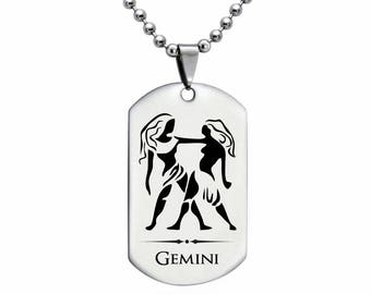 GEMINI Zodiac Sign Necklace, Laser Engraved Gemini Stainless Steel Dog Tag Necklace 24 Inches Made in USA - SSN406-GEM