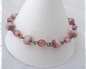 Beautiful Pink Czech Glass Bracelet, Pink Beaded Bracelet, Beautiful Bracelet