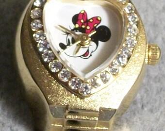 Disney Swarovski Crystals Disney Minnie Mouse Ring Watch! GORGEOUS! Retired! Hard To Find! Original Packaging!