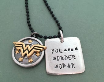 Wonder Woman: You are a Wonder Woman Necklace with Wonder Woman Shield