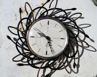 50s French wall clock, mid century modern Jaz swirly gold tone and black brass atomic / MCM