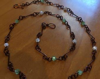 Sea foam green and white swarovski crystal beaded dark copper chain necklace