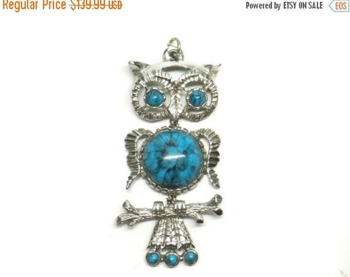 Storewide 25% Off SALE Vintage Silver Tone Articulated Southwestern Turquoise Style Eclectic Owl Pendant Featuring Detailed Trim Design