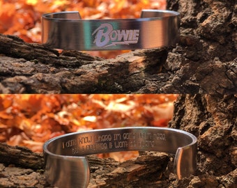 Engraved David Bowie inspired bracelet | I dont know where im going from here but i promise it wont be boring | silver bowie bracelet