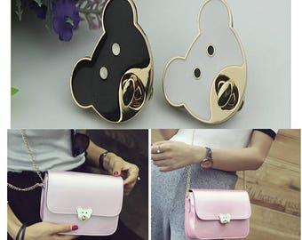 4CM leather bag lock leather purse lock Purse lock twist purse turn lock clutch clock bag lock bear lock  (1 piece) A04009