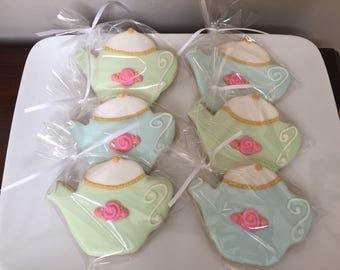 Tea Party Cookies - Tea Pot Sugar Cookies-Mother's Day Cookies - Tea Party Favors - 1 dozen