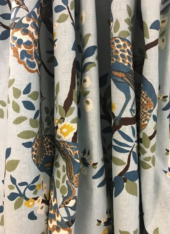 Curtains Ideas chinoiserie curtains : Robert Allen Vintage Plumes Curtains Aqua Blue Peacock