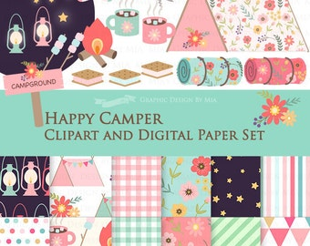 30% off Happy Camper Clip Art + Digital Paper Set / Camping Clipart / Camping Digital Paper - Instant Download