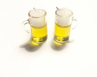 Miniature beer mug earrings