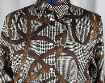 Lauren Ralph Lauren Shirt Bridle Equestrian Button Belts Fall Classic XL