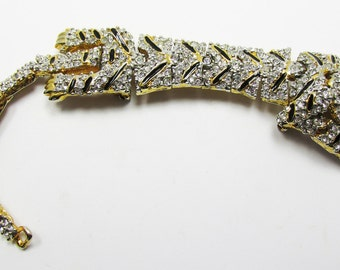 Magnificent Late 1950s Figural Tiger Rhinestone and Black Enamel Shoulder Pin