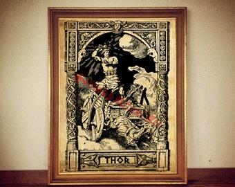 Thor print,  Norse mythology poster, nordic god illustration, scandinavian decor, Thor's hammer poster, wall art #335