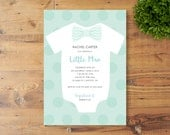 Printable Baby Shower Invitation, Little Man, Bow Tie, Baby Boy