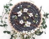 8 inch Cherry Blossom Embroidery Hoop Art. Wool Embroidery. Crewel Threads. Dogwood Flowers. Modern Crochet. Textile Art. Grey and White