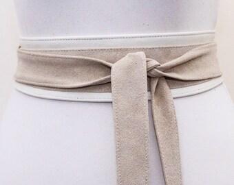 Cream Suede Belt |Cream Suede Obi Belt | Waist Belt | Sash Tie Belt | Womens Leather Belt| Handmade Belt | Plus size belts