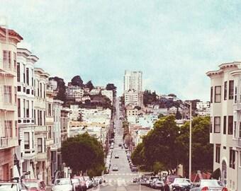 San Francisco street Photography, travel photography, San Francisco hills, street photo, architecture photo, California photo, pastels, pink