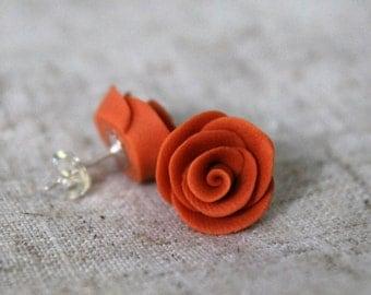 25% OFF! Pumpkin Orange Polymer Clay Rose Stud Earrings