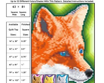 0210 Red Fox Face Quilt Pattern