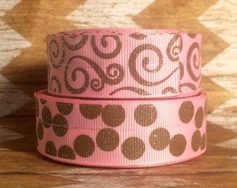 "7/8"" USDR pink amd brown glittery grosgrain ribbon"