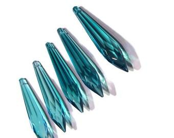 5 Teal 76mm Crystal Prisms, 76mm Icicle Crystal, Teal Crystals, Crystal Prisms, Icicle crystal, Sun Catcher Crystal, Lamp Crystal