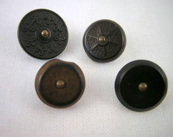 SaLe! 4 Small Goodyear's Rubber BUTTONS: N.R.Co P=T Backmarks, Pin Shanks, Star, Clovers, Possible Error, Dark Browns, Civil War Era