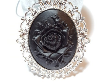 Black Rose Cameo - Bright Silver Frame