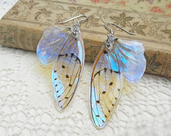 Fantasy Earrings - Fairy Accessories - Nature Lover Gift - Insect Jewelry - Iridescent Earrings - Cicada Wings - Mother of Pearl