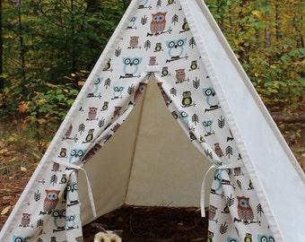 Owl and Canvas Teepee, Kids play tent, Childs foldaway teepee, Wood poles