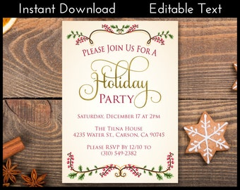 Holiday Party Invitation, Holiday Invite, Holiday Party Invite, Holiday Invite, Holly Invitation, Holly Invite, Instant Download