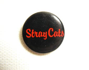 Vintage Early 80s - The Stray Cats - Red and Black Logo Pin / Button / Badge