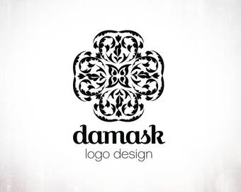 Premade Logo Design • Damask Cross with Stamp