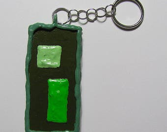 NEW! - Keychain - Key Fob - Greens & Black - 2 Sided - Highly Textured - Handmade - OOAK - Rectangular