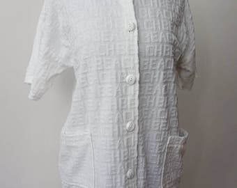 1980s white cotton BEACH letter print short sleeve button-up beach cover-up shift dress Gloria's Fashions Made in USA modest
