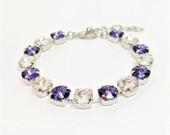 Tanzanite Swarovski Bracelet 8mm Chaton Crystal Bracelet Swarovski Elements Blue Crystal Gift for Her Tanzanite Jewelry Blue Tennis Bracelet