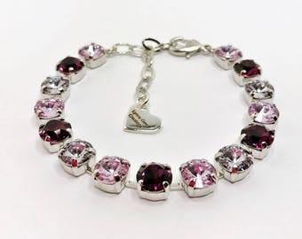PURPLE HAZE Ombre Swarovski Crystal Bracelet 8mm Chaton Designer Jewelry Purple Adjustable Bracelet Swarovski Elements LynnsGemCreations