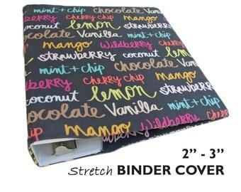 "Recipe Binder, Recipe Book Binder, School Binder ICE CREAM FLAVORS 2""-3"" 3 Ring Binder Cover, Planner Binder, Planner Cover, Cookbook Binder"