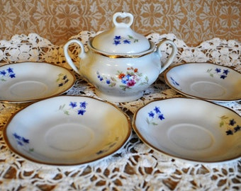 Vintage Favolina Porcelain Sugar Bowl & 4 Tea Saucers, Made in Poland