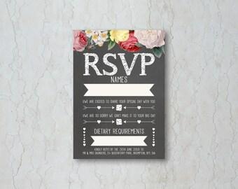 Floral Chalkboard RSVP