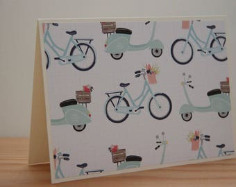 12 Bicycle Note Card Set. Blank Note Card Set. Scooter Note Cards.  Stationery Gift Set. Bicycle Party Invitations.  Retro Bicycle Cards
