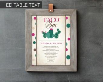 CACTUS PARTY DECORATIONS, diy Printouts, Taco Bar Sign, Editable Text, Printable Cinco de Mayo, Instant Download, Baby Shower Fiesta Decor