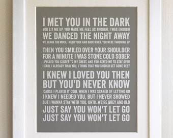 FRAMED Lyrics Print - James Arthur, Say You Wont Let Go - 20 Colours options, Black/White Frame, Wedding, Anniversary, Valentines, Picture
