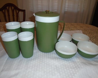 Royal Satin Thermo Ware.  Juice pitcher .  Glasses .  Bowls. Thermo Ware