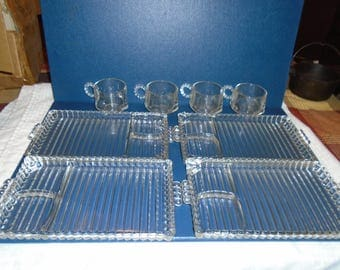 New. 1950's Orchard Crystal. Tray and cup set. 4 glass trays and cups. Hazel atlas glass.