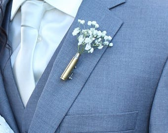 3 Boutonnieres no flower - Rustic Wedding - Rustic Boutonniere - Bullet Boutonniere - Barn Wedding  - bullet boutineer - Bridal Party