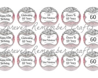 INSTANT DOWNLOAD 60th Birthday Party 1 Inch Bottle Cap Image Sheets *Digital Image* 4x6 Sheet With 15 Images